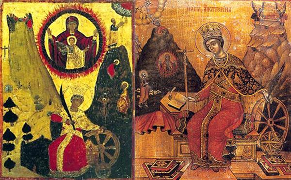 Слева святая Екатерина, греческая икона. Справа икона Екатерины, написанная в одной из стран Средиземноморья в 18 веке. На обеих иконах Екатерина как будто прядет