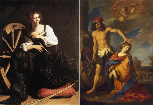 Святая Екатерина. Слева картина Караваджо. Справа - Гверчино (казнь, 1653 год)