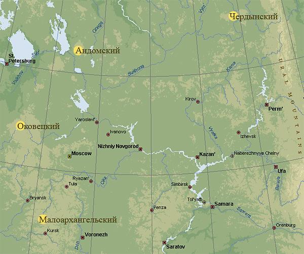 Желтыми пятнами на карте обозначены зоны, где сходятся реки трех морей