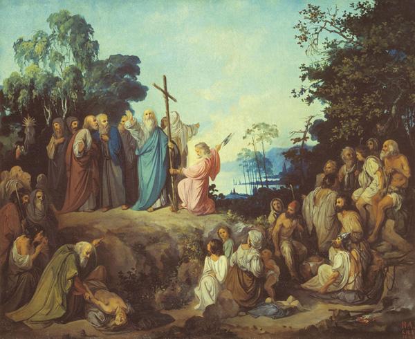 Апостол Андрей Первозванный водружает крест на горах Киевских. Николай Ломтев