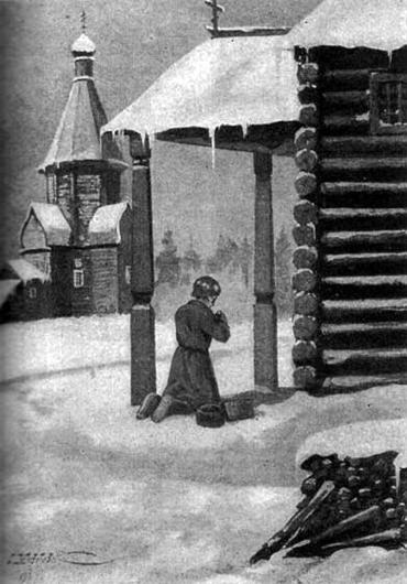 Отрок Ваня молится по дороге в школу