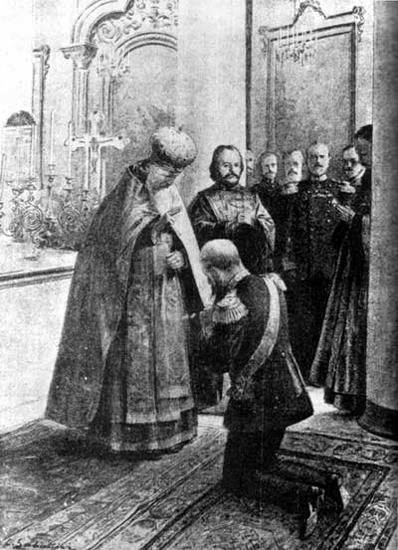 Батюшка Иоанн благословляет адмирала Макарова перед походом на Русско-японскую войну, 1904 год