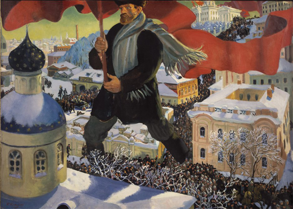 Большевик. Картина Бориса Кустодиева