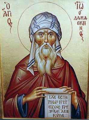 Иоанн Дамаскин. В период иконоборчества выступал в защиту почитания икон. Иконоборческий собор 754 года четырежды подверг анафеме Иоанна, но VII Вселенский собор подтвердил верность его учения.
