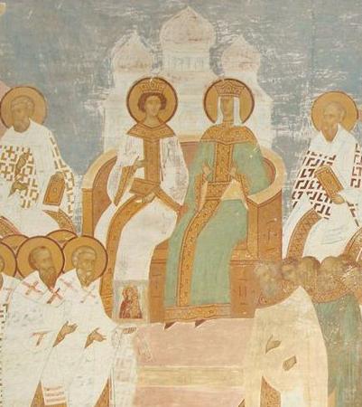Императрица Ирина с сыном на Седьмом Вселенском соборе (фреска Дионисия, XV век)