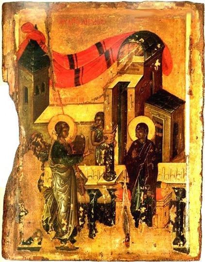 Благовещение. Византийская икона, XIV век