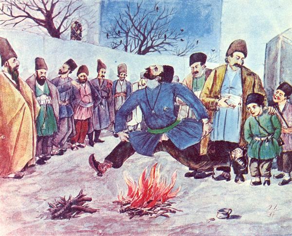 Азербайджанский художник Азим Аслан оглы Азимзаде. Прыганье через костер, 1937 год