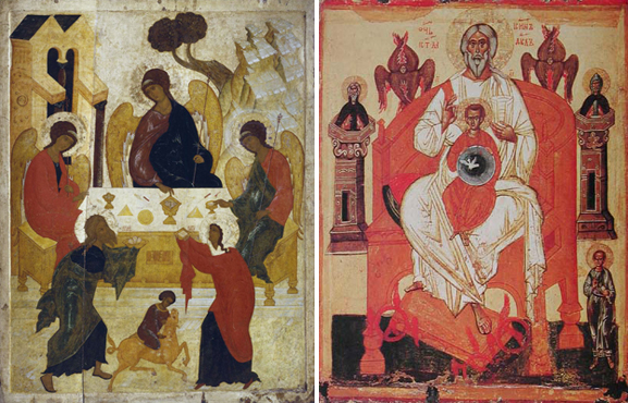 Слева Троица Ветхозаветная, справа - Новозаветная (Отечество)