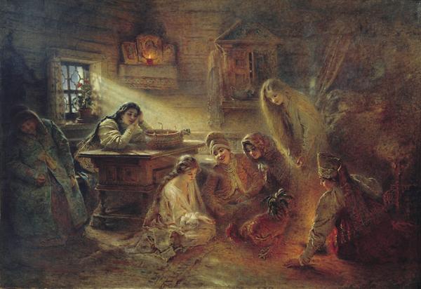 Владимир Маковский. Гадание с петухом