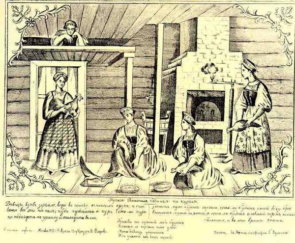 Крестьянки гадают на курах. Лубок XIX века