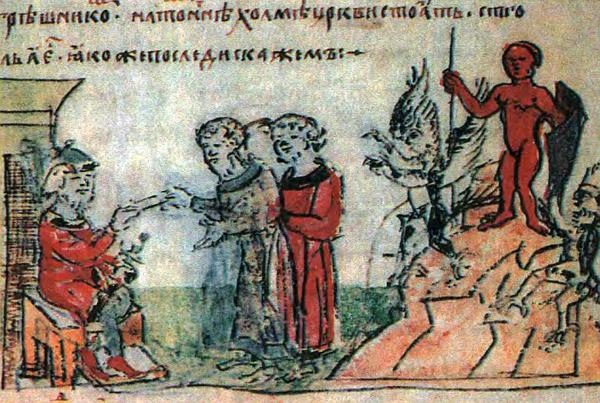 Кумир Перуна из пантеона Владимира (справа). Миниатюра из Радзивиловской летописи