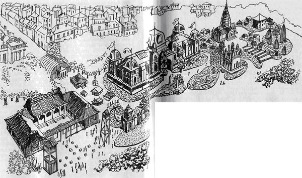 Всемирная выставка в Париже Колониальная секция Всемирной выставки 1889 г. в Париже, на площади Инвалидов. В центральном двухэтажном павильоне были выставлены типичные продукты, этнографические коллекции и фотографии из небольших колоний, в том числе с Таити и других островов Французской Океании. Более крупным колониям были отведены отдельные павильоны, каждый в национальном стиле. Здание с высоким острым куполом справа от центрального павильона — копия храма из Ангкор Ват, которой так восхищался Гоген. Яванская деревня, где он часто смотрел национальные танцы, находилась сразу за последними постройками справа, в особой секции, посвященной Голландской Ост-Индии.