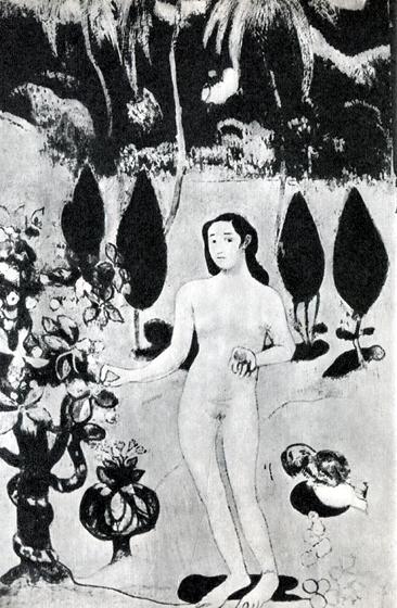 7. Что мечтал Гоген найти на Таити, хорошо видно на малоизвестной картине, изображающей Еву в живописном тропическом раю; эту вещь он написал в 1890 г., перед отъездом из Франции.