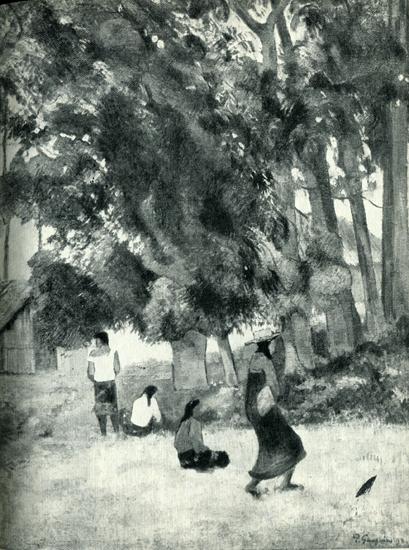 20.  Новый дом Гогена в Матаиеа виден за деревьями на этой картине. Хижина слева — кухня.