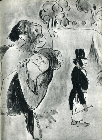 26. Эта карикатура на губернатора Лакаскада обыгрывает двойное значение слова magot — «обезьяна» и «сокровище». Под сокровищем Гоген подразумевал состояние, будто бы нажитое губернатором за счет взяток.
