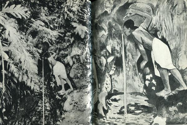 Слева - 29.  Фотографии часто служили источником вдохновения для Гогена. Этот снимок сделал Шарль Шпиц, тогда единственный в Папеэте фотограф-профессионал. Справа - 30. Поза пьющего мальчика ему так понравилась, что он написал картину «Папе моэ» — «Таинственный источник».