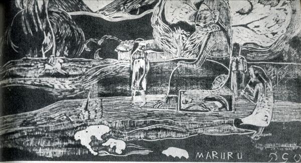 33.                    На многих ксилогравюрах и картинах можно увидеть изображения могучих идолов, но они выдуманы Гогеном, на Таити ничего похожего не было.