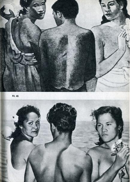 44.                    Одна из наиболее известных картин второго таитянского периода Гогена. Эти фигуры встречаются и на многих других его полотнах. 45.                     Фотореконструкция картины, сделанная для этой книги, показывает, как точно Гоген передавал физический тип таитян.