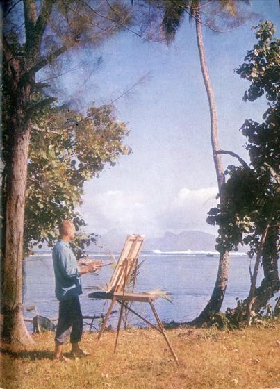 36.                     Этим самым чудесным видом на море и остров Моореа Гоген любовался шесть лет, с 1895 по 1901 г., когда жил в Пунаауиа на западе Таити. И теперь художники охотно работают на том же месте.