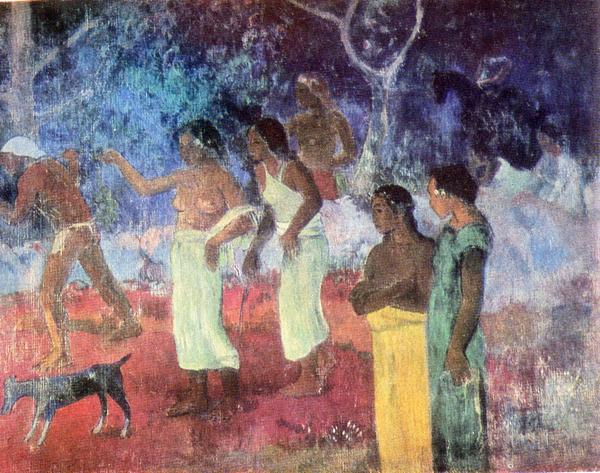 41.                     Сцена таитянской жизни. 1896 (Сцена из жизни таитян. Эрмитаж, инв. № 6517). Несмотря на такое название, это вовсе не взятая из жизни сцена, виденная Гогеном из своего домика в Пунаауиа на западном берегу Таити, где он жил в это время. Все фигуры в тех же позах известны по другим картинам; очевидно, что речь идет о композиции, тщательно выполненной художником в мастерской.