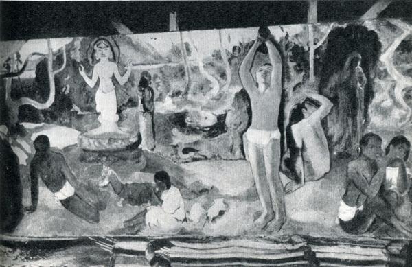49. «Откуда мы? Кто мы? Куда мы идем?» — картина, которую сам Гоген назвал своим духовным завещанием. Сфотографирована в его мастерской почтмейстером Лемассоном 2 июня 1898 г.