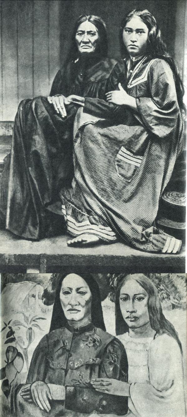 50. Может быть, Гоген сам сделал этот снимок, а может быть, купил его в Папеэте. Во всяком случае, лица и позы женщин его привлекли. 51. И он написал стилизованный портрет, совсем изменив фон.