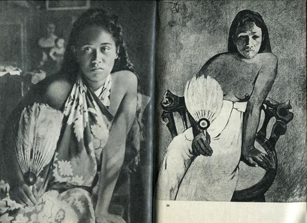 55.                    Любимая модель Гогена, рыжеволосая Тохотауа, сфотографирована в мастерской в «Веселом доме» другом художника, коммивояжером Луи Греле. В это время она позировала для картины, которая теперь экспонируется в музее Фолькванг в Эссене.  56.                      Видно, что Гоген изобразил свою модель более молодой и одухотворенной, чем она была на самом деле.