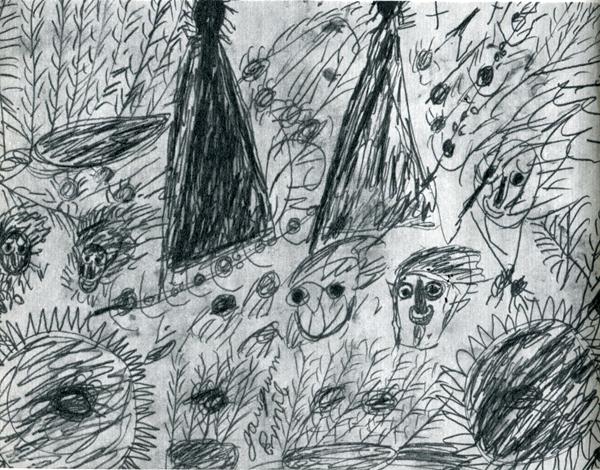 77.                     В  последнее время Эмиль играет на любопытстве туристов — рисует картинки в таком роде и продает их за доллар-два. Этот рисунок должен изображать таитянские привидения — так  сказать,  параллель  к «Манао тупапау».