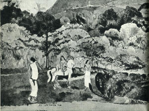 74.                     На одной из последних картин Гогена, написанной в начале 1903 г., вверху ясно видно распятие на том самом кладбище, где его похоронили через несколько месяцев.