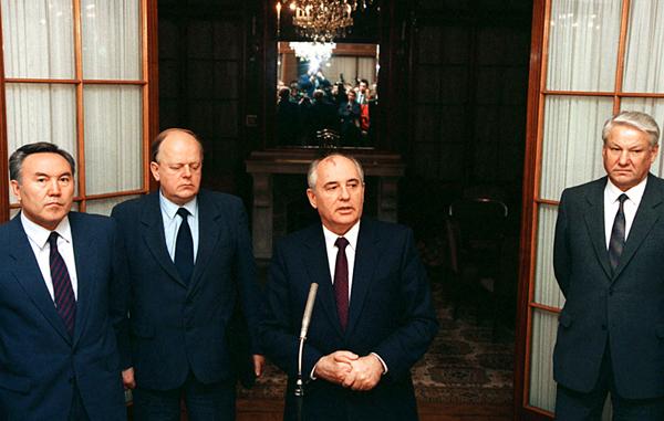 Назарбаев, Шушкевич, Горбачев, Ельцин, 14 ноября 1991 года. Фото Юрия Лизунова