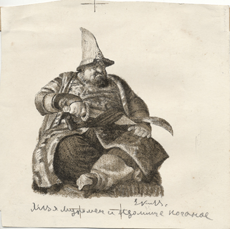 Илья Муромец и Идолище Поганое. Евгений Кибрик, иллюстрация, 1950 год