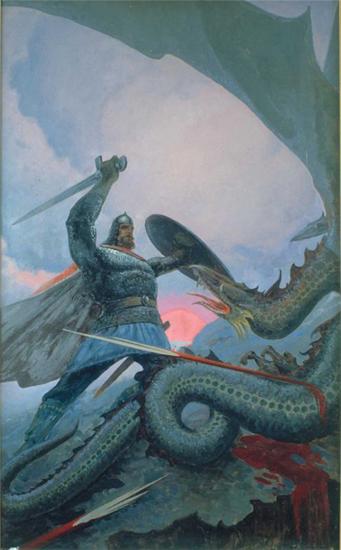 Константин Васильев. Бой Добрыни со змеем на Калиновом мосту