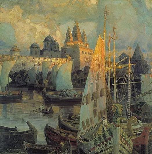Аполлинарий Васнецов. Варяжские корабли в Великом Новгороде. 1902