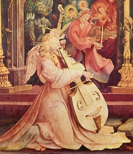 Маттиас Грюневальд. Музицирующий ангел. Фрагмент центральной части Изенгеймского алтаря. А кто это там прямо позади музицирующего ангела, тоже музицирует? Тоже какой-то ангел, но весь в чещуе и на вид неприятный