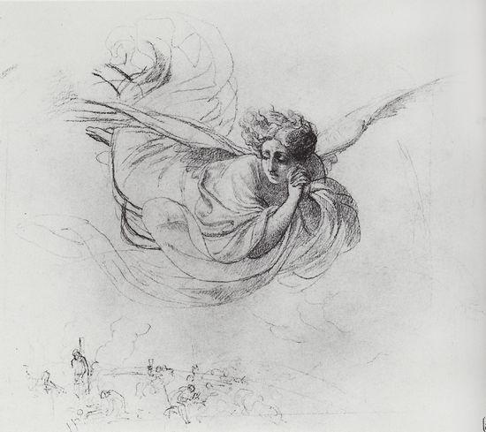 """Карл Брюлов. """"Летящий ангел оплакивает жертвы инквизиции"""