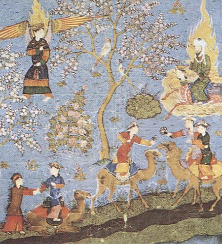 Пророк Мухаммад, ведомый ангелом Джабраилом, возносится на небеса