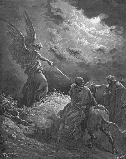 Ангел, Валаам и его ослица. Гравюра Гюстава Доре