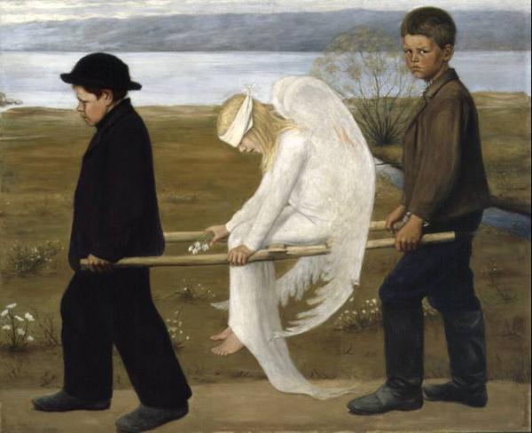Раненый ангел. Картина работы финского художника-символиста Хуго Симберга (1873–1917)