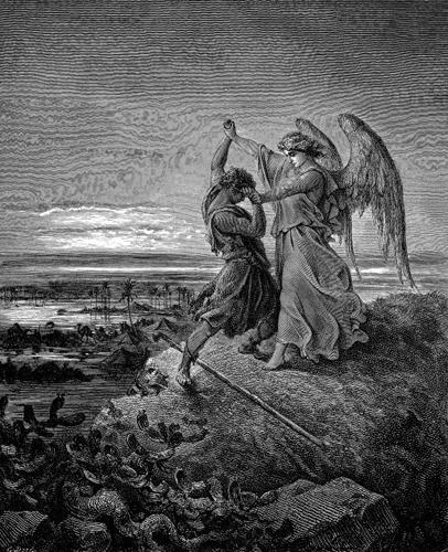 Борьба Иакова с ангелом. Гравюра Гюстава Доре