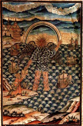 Ангел из видения Иоанна Богослова. Русский лубок