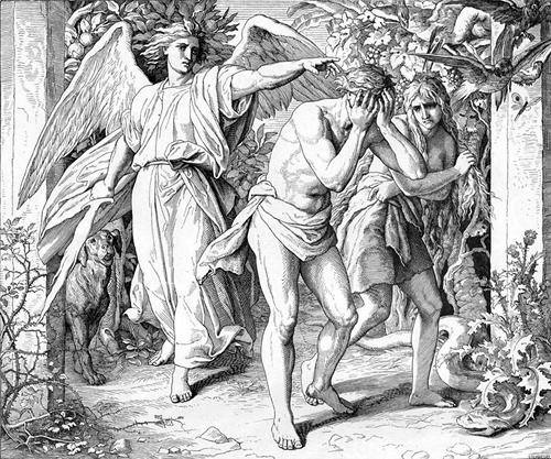 Ангел показывает Адаму и Еве дорогу вон из рая. Гравюра Юлиуса Шнорр фон Карольсфельда