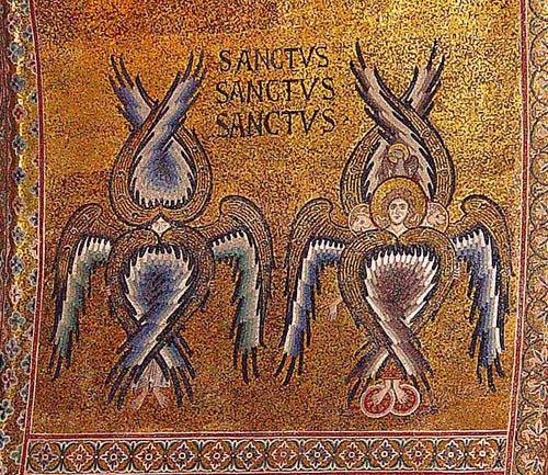 Серафимы упоминаются в Библии только один раз. Они были явлены пророку Исаии в образе живых шестикрылых существ, окружающих Престол Бога. Различия между иконописными образами Серафимов и Херувимов постепенно стерлись. Их общие черты - наличие крыльев и предстояние у Божественного Престола