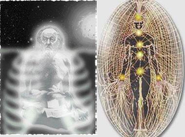 Слева - фотоснимок, на котором, якобы, запечатлено астральное (оно же в некоторых учениях называется тонким, или эфирным) тело человека. Справа - чакры, энергетические центры человеческого организма, излучающие свечение, из которого, по мнению эзотериков, образуется аура астрального тела
