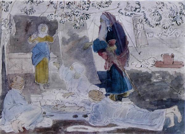 """Александр Иванов. """"Три странника, возвещающих Аврааму рождение Исаака"""". Собственно это обычная Троица, только ангелы возлежат за трапезой и пророчат стоящим Аврааму и Саре рождение сына"""