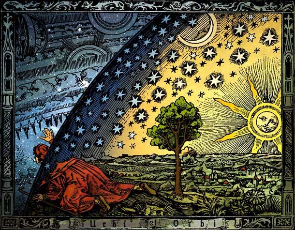 Вселенная. Гравюра на дереве. К. Фламмарион (Париж, 1888). Раскраска Хайкенвальдер Хуго (Вена, 1998)