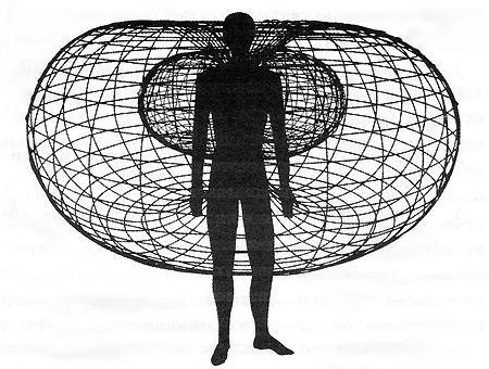 На картинке из архива Института математики сердца иллюстрации показана форма и приблизительный размер энергетического поля вокруг человеческого сердца