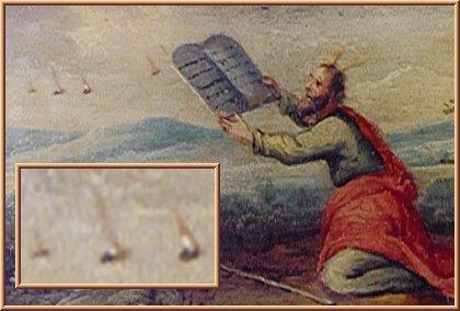 Гравюра неизвестного бельгийского художника (в Earls D'Oltremond). Моисей получает откровение от неопознанных летающих объектов (см. увеличенный фрагмент).