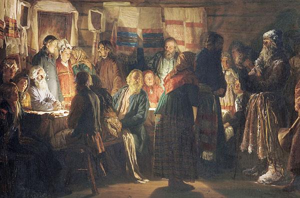 Приход колдуна на крестьянскую свадьбу. 1875. Максимов В.М. Фрагмент