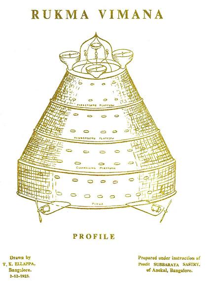 Чертеж виманы (летательного аппарата, изобретенного еще в древней Индии) из «Вайманика Шастры»