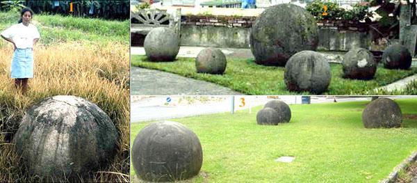 Камни в парках круглых камней и «на воле». 1. Археолог по имени Ифигения Куантанилла показывает один из камней в естественной среде. 2. Парк Сфер в Коста Рике 3. Новозеландский парк круглых камней в Окленде, местный эквивалент костариканских.